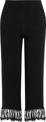 Black Tasseled Wool Blend Trousers