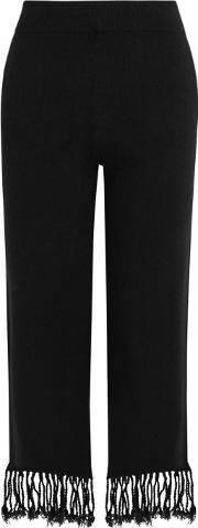 Black Tasseled Wool Blend Trousers Size S