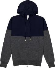 Grey And Navy Wool Blend Jumper