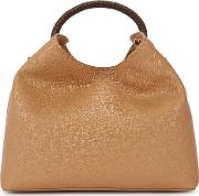 Raisin Camel Leather Top Handle Bag