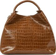 Raisin Crocodile Effect Leather Shoulder Bag