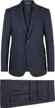 M Line Navy Checked Wool Blend Suit