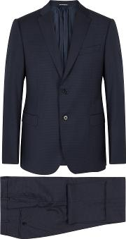 M Line Navy Checked Wool Suit