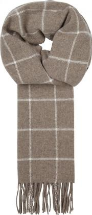 Brown Checked Wool Scarf