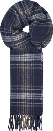 Navy Checked Wool Scarf