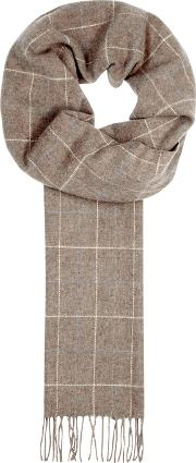 Taupe Checked Wool Scarf