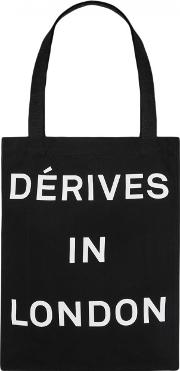 Derives Black Printed Canvas Tote