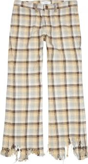 Checked Distressed Cotton Trousers