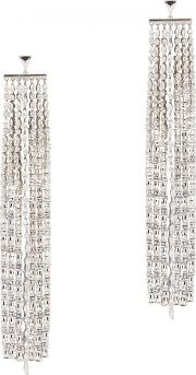 Marquis Silver Tone Drop Earrings
