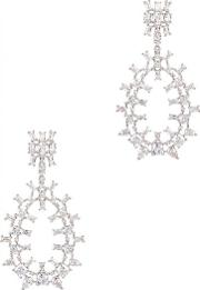Monarch Rhodium Plated Teardrop Hoop Earrings