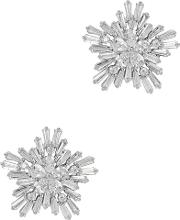 Monarch Starburst Rhodium Plated Stud Earrings