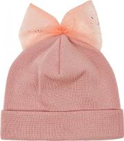Pink Bow Embellished Wool Beanie