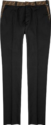 Black Monogram Trimmed Twill Trousers
