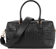 Boston Black Logo Embossed Leather Tote