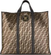 Ff Large Gold Monogrammed Tote