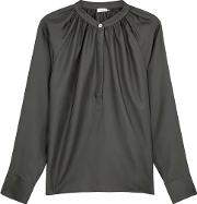 Anthracite Washed Silk Blouse