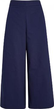Eames Navy Cropped Twill Trousers Size Xs