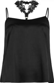 Nocturnal Lace Trimmed Satin Camisole