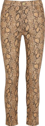 Le High Skinny Coated Python Print Jeans