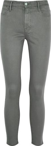 Le High Skinny Crop Coated Grey Jeans