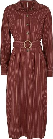 Audrey Brown Striped Shirt Dress