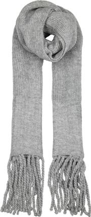 Jaden Grey Ribbed Knit Scarf