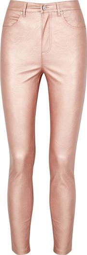 Rose Metallic Faux Leather Jeans