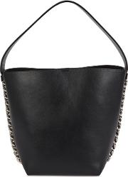 Infinity Black Leather Bucket Bag
