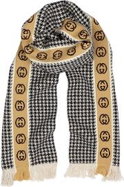Gg Houndstooth Wool Blend Scarf