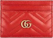 Gg Marmont Red Leather Card Holder