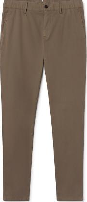 Garment Dyed Stretch Cotton Chino Trousers