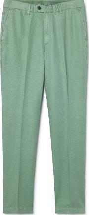 Sanderson Classic Fit Cotton And Linen Chino Trousers
