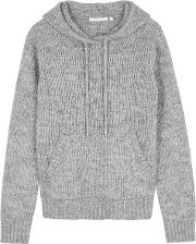 Grey Hooded Wool Blend Jumper