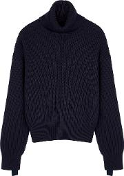 Navy Roll Neck Wool Blend Jumper