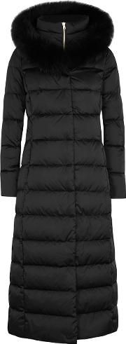 Black Fur Trimmed Quilted Satin Coat