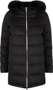 Black Quilted Cashmere Blend Coat