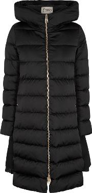 Black Quilted Shell Coat