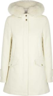 Cream Fur Trimmed Cotton Blend Coat