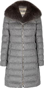 Grey Quilted Silk Blend Coat