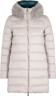 Grey Reversible Quilted Shell Coat