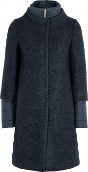 Navy Boucle And Quilted Shell Coat