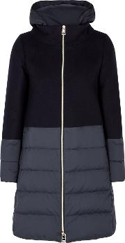 Navy Panelled Wool Blend Coat