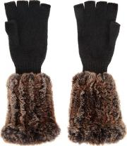 Domina Fur And Cashmere Fingerless Gloves