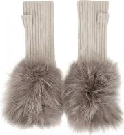 Frida Fur Trimmed Cashmere Fingerless Mittens