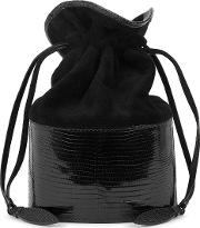 Lola Small Black Suede And Lizard Bucket Bag