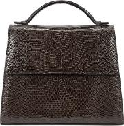 Medium Brown Lizard Top Handle Bag