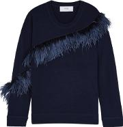 In. No Crystal Feather Trimmed Wool Blend Jumper