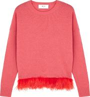 In. No Icelyn Feather Trimmed Wool Blend Jumper