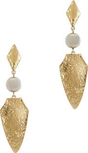 Hammered Gold Tone Drop Earrings
