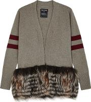 Taupe Fur Trimmed Wool Blend Cardigan
